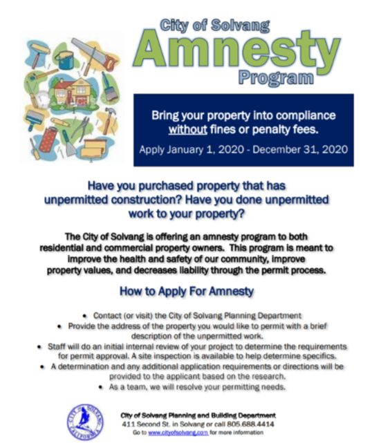 City of Solvang Amnesty Program
